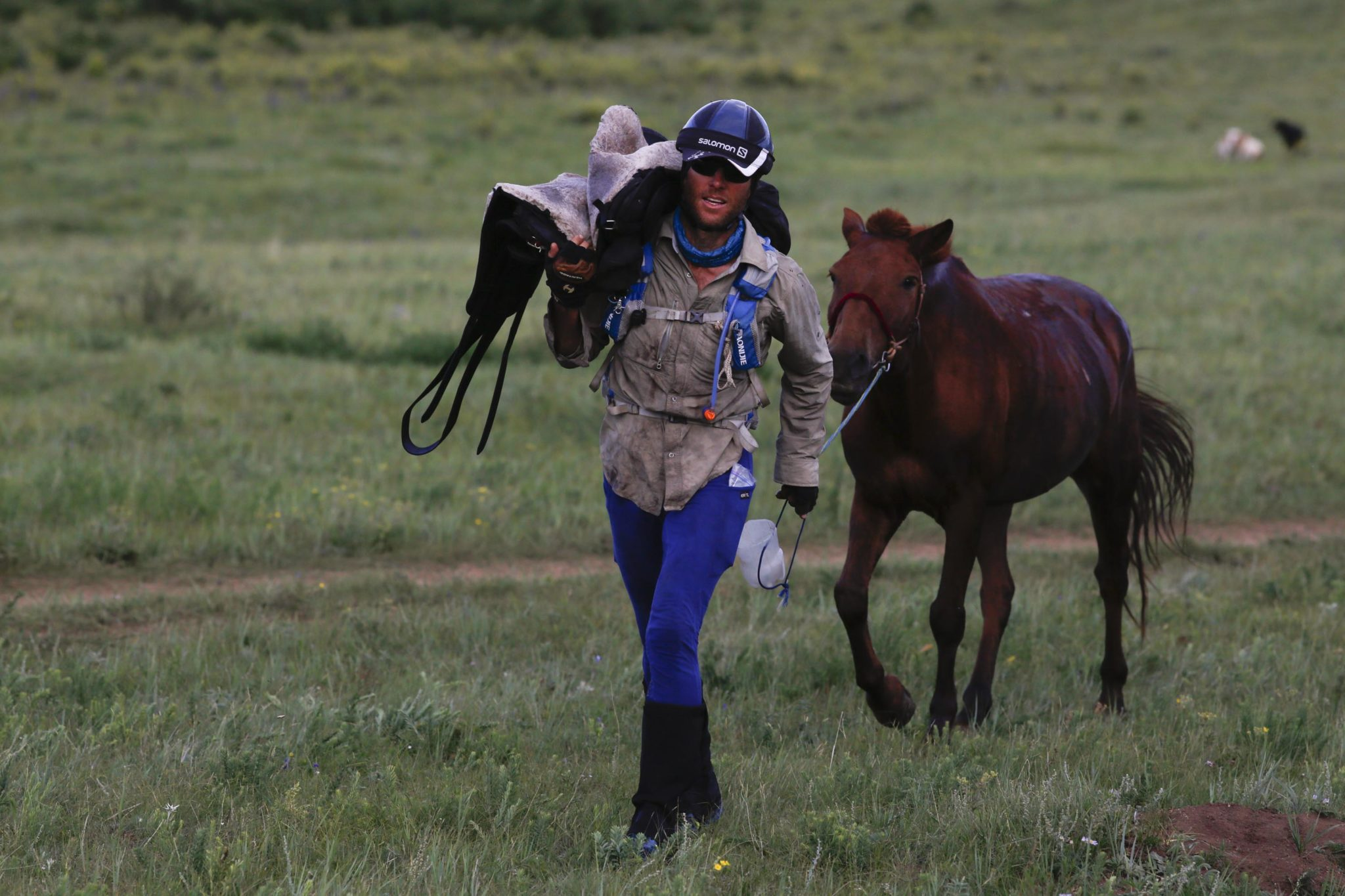 Endurance World Mongol Derby. Carrying the saddle.